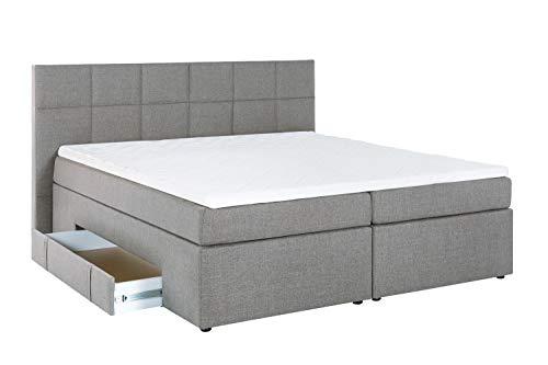 Furniture for Friends Doluna Bea Boxspringbett 200 x 200 cm Hellgrau H3 | 7-Zonen-Taschenfederkern Matratze + Visco-Topper | mit Bettkasten für Stauraum