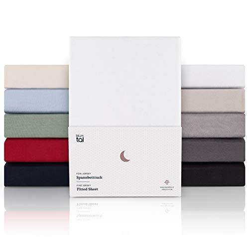 Blumtal Premium Topper Boxspringbett Spannbettlaken 180x200cm - Superweiches 100% Baumwolle Spannbetttuch, bis 15cm Topperhöhe, Weiß