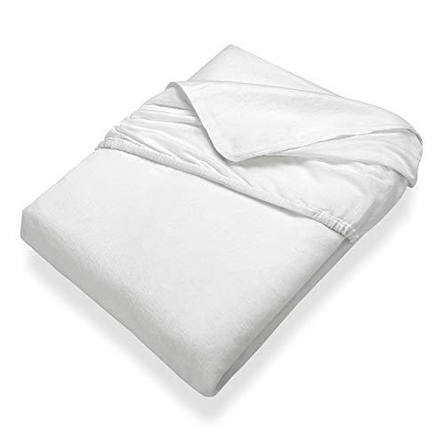 SETEX Kalmuck Matratzenschutz, Spannbetttuch, 90 x 200 cm, 100 % Baumwolle, Classic, Weiß, 2408090200541002