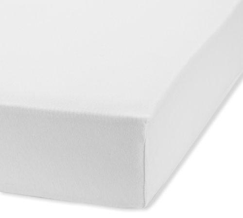 fleuresse Jenny C klassisches Jersey-Spannlaken, 100% Baumwolle, mit praktischem Rundumgummi, Fb. Weiß, Größe 120 x 200 cm, auch passend für 110/130 x 200