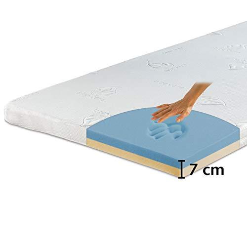 maxVitalis Visko-Gelschaum Topper orthopädisch, Wendefunktion: 2-Härtegrade & 2-Materialien, Matratzenauflage atmungsaktiv, inkl. Aloe Vera Bezug (90 x 200 cm, Visko-Gelschaum 7 cm)