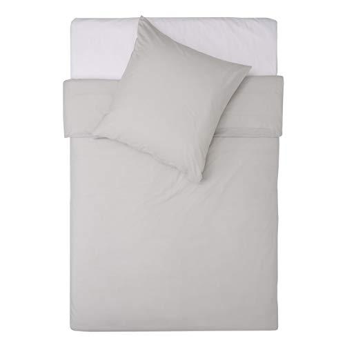 Lumaland Premium Bettwäsche Everyday Ganzjahres Bettbezug mit YKK Reißverschluss 135x200cm & Kissenbezug 80x80cm Grau