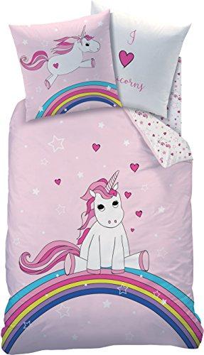 Familando Einhorn Wende Bettwäsche-Set 135x200 80x80 cm | 100% Baumwolle | Unicorn Rainbow Regenbogen Kinder-Bettwäsche für Mädchen