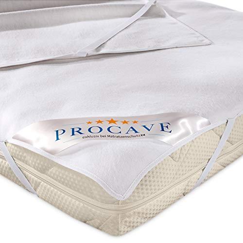 PROCAVE Molton-Matratzenschoner in weiß, Matratzen-Auflage aus 100% Baumwolle, hochwertige Moltonauflage als Matratzenschutz, Premium Qualität Made in Germany 180x200 cm