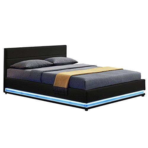 ArtLife LED Polsterbett Toulouse 140 × 200 cm mit Bettkasten & Lattenrost - Kunstleder Bezug & Holz Gestell – schwarz – Bettgestell Einzelbett