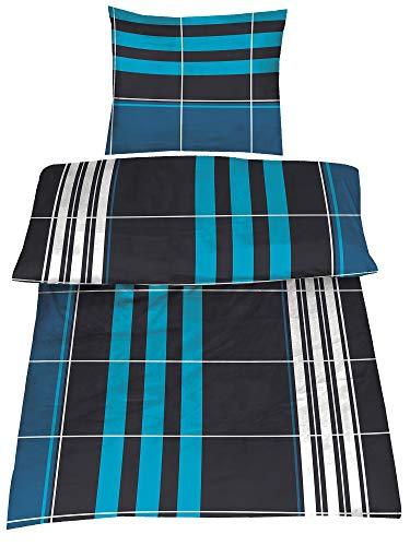 Sommer-, hauchdünne, kühlende Microfaser Bettwäsche petrol/schwarz kariert 1x 135x200 Bettbezug + 1x 80x80 Kissenbezug mit Reißverschluss
