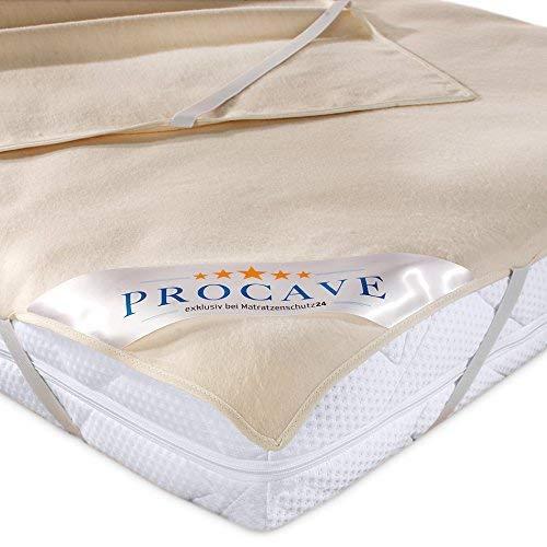 PROCAVE Matratzen-Auflage aus 100% Baumwolle, Natur-Matratzenschoner atmungsaktiv, hochwertige Moltonauflage als Matratzenschutz, Premium Qualität Made in Germany 90x200 cm