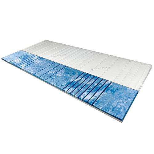 AM Qualitätsmatratzen 8 cm hoch - 7-Zonen Deluxe Gelschaum-Topper 180x200 cm mit RG 50 - Hochwertiger Lyocell-Bezug - Antirutschfunktion - Umlaufendes Klimaband - Gel-Topper 180 x 200 8cm