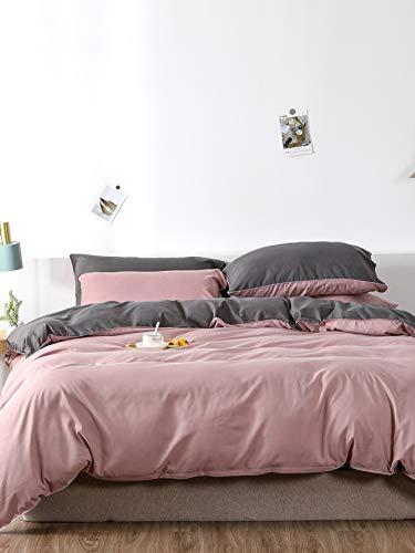 Chanyuan Bettwäsche Altrosa 135x200cm 4Teilig Rosa Grau Anthrazit Uni Bettwäsche Wendebettwäsche Set Microfaser 2 Bettdeckenbezüge mit Reißverschluss und 2 Kopfkissenbezüge 80x80cm