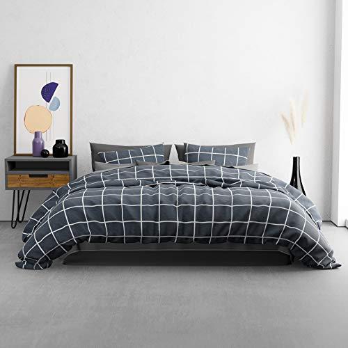 KØZY LIVING Traumwelt Bettwäsche-Set – 1 Deckenbezug 200x200 cm mit 2 Kissenbezug 80x80 cm – hochwertige, atmungsaktive Ganzjahresbettwäsche Baumwolle mit Reißverschluss - Dunkel Kariert