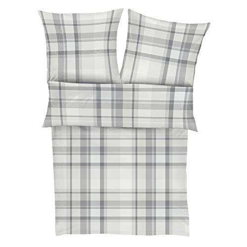 s.Oliver 6577 Bettwäsche 135x200 cm - Ganzjahresbettwäsche grau, 100% Baumwolle, 2 teilig mit Reißverschluss