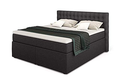 King Boxspringbett 180x200 mit 7-Zonen TFK Härtegrad H3 und Visco-Topper | Farbe Anthrazit | 140-200 x 200 cm verfügbar | Wahlweise mit Bettkasten