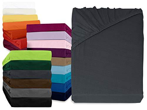 npluseins klassisches Jersey Spannbetttuch - erhältlich in 34 modernen Farben und 6 verschiedenen Größen - 100% Baumwolle, 140-160 x 200 cm, anthrazit