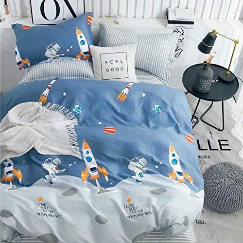 Kinderbettwäsche 135x200 Bettwäsche für Kinder Jungen mit Astronaut und Rakete Muster 100% Baumwolle 80x80cm Kissenbezug mit Reißverschluss 2 teilig Blau