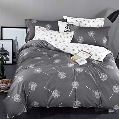 KEAYOO Bettwäsche 200x200 Grau Weiß Baumwolle Wendebettwäsche Pusteblume Muster Soft Touch mit Reißverschluss 3teilig Set