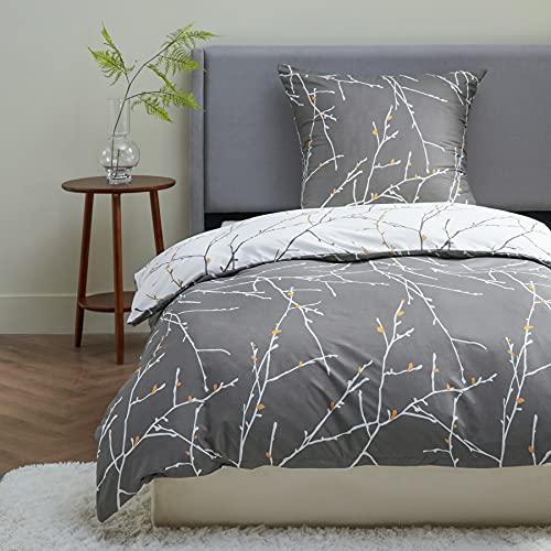 BEDSURE Bettwäsche 135x200 Mikrofaser 2teilig - Bettbezug 135 x 200 2er Set mit 80x80 cm Kissenbezug,Zweige grau für Einzelbett mit Reißverschluss