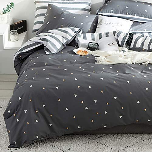 Luofanfei Grau und Weiß Bettwäsche 135 x 200 cm Dreiecke Baumwolle Bettbezug Anthrazit Gestreift Geometrisch Muster Ganzjahr Geeignet