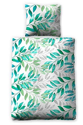 jilda-tex Seersucker-Bettwäsche Sommerbettwäsche Botanic Green 135x200 cm + 80x80 cm Ökotex-100 100% Bio-Baumwolle mit Reißverschluss (135 x 200 cm)