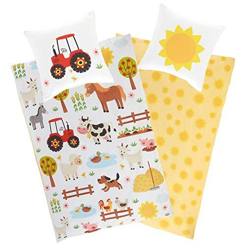 Aminata Kids Kinderbettwäsche 135 x 200 Tiere Tier-Motiv Bauernhof Baumwolle mit YKK Reißverschluss, Kinder-Wende-Baby-Bettwäsche-Set bunt, weich & kuschelig Traktor, Trecker, Pferd, Hund, Sonne, gelb