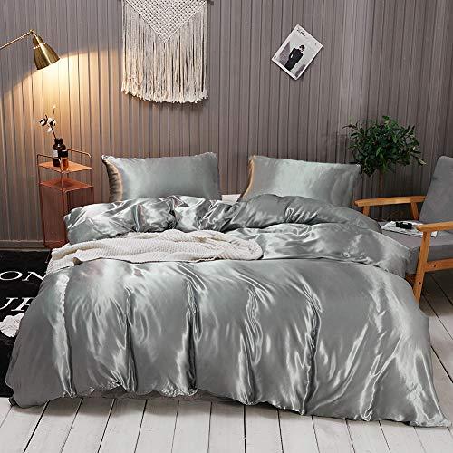 Omela Bettwäsche Satin 135x200 Grau Einfarbig Glatt Glänzend Bettbezug mit Reißverschluss 2 Teilig 100% Glanzsatin Polyester Sommerbettwäsche Set Kissenbezug 80x80 cm