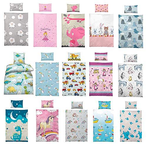 Wasserbetten-Markenshop Kinder Bettwäsche 100 x 135 cm + Kissen 40 x 60 cm 100% Microfaser, mit verschiedenen Motiven, Kinderbettwäsche Set, Babybettwäsche, Baustelle