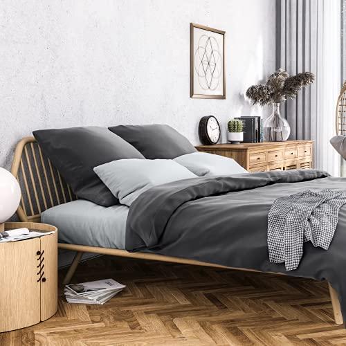 Wolkenfeld Bettwäsche 135x200 Mako-Satin Baumwolle - Traumhaft weiches Bettwäsche-Set - 1x Bettbezug 135 x 200 + 1x Kissenbezug 80x80 - Anthrazit Grau