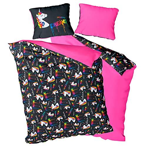 LaStellaArt Mädchen Bettwäsche 135x200 Einhorn · 100% Satin-Baumwolle · Einhornbettwäsche mit Reißverschluss · Ganzjahresbettwäsche für Kinder, Teenager, Jugendliche, Erwachsene